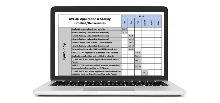 Stay On Track with Your Grants & Keep a Copy of the BVCOG Application & Scoring Timeline Handy